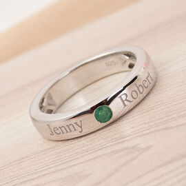Personalised Engraving Birthstone Band Ring