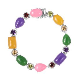 62.75 Ct Green Jade and Multi Gemstone Bracelet in Rhodium Plated Silver 19.61 Grams 8 Inch