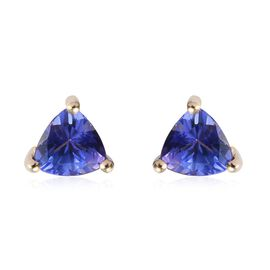 1 Carat AA Tanzanite Solitaire Stud Earrings in 9K Yellow Gold