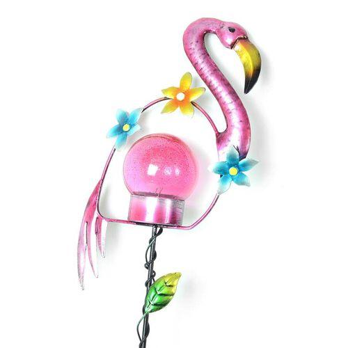 Set of 2 - Solar Powered Flamingo Shape Stake Light (Length 60 Cm) - Pink and Black