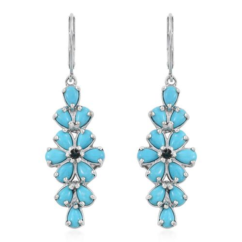 Arizona Sleeping Beauty Turquoise (Pear), Diamond Lever Back Earrings in Platinum Overlay Sterling Silver 5.250 Ct.