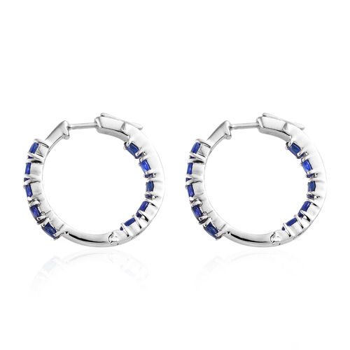 Blue Spinel (Ovl) Hoop Earrings (with Clasp Lock) in Platinum Overlay Sterling Silver 3.500 Ct, Silver wt 7.13 Gms.