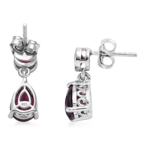 Rhodolite Garnet (Pear and Rnd) Earrings (with Push Back) in Platinum Overlay Sterling Silver 3.00 Ct.