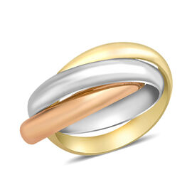 Trinity Ring in 9K Yellow and White and Rose Gold 2.70 Grams