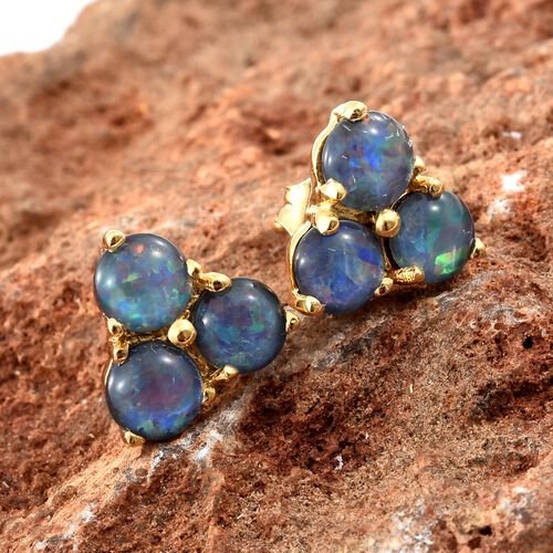 Australian Boulder Opal (Rnd) Stud Earrings (with Push Back) in 14K Gold Overlay Sterling Silver 2.000 Ct.