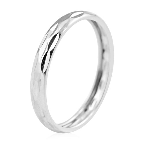 Vicenza Collection - 9K White Gold Diamond Cut Band Ring