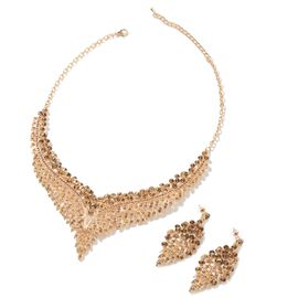 2 Piece Set - Champagne Colour Austrian Crystal (Rnd) Chandelier Design Necklace (Size 19 with 3 inc