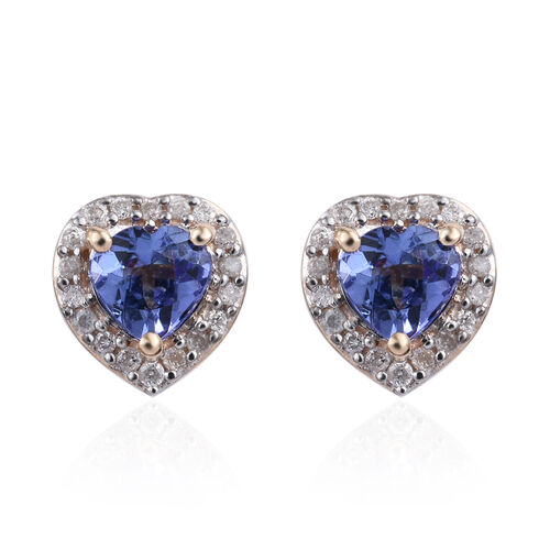 1 Carat Tanzanite and Diamond Heart Halo Stud Earrings in 9K Yellow Gold