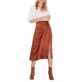 Nova of London Front Pleat Midi Skirt in Brown