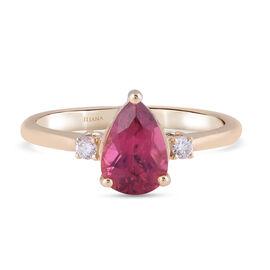 ILIANA 18K Yellow Gold AAA Rubellite and Diamond (G-H/S-I) Ring 1.45 Ct.