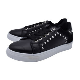 DOD- Faux Leather Studded Trainers in Black