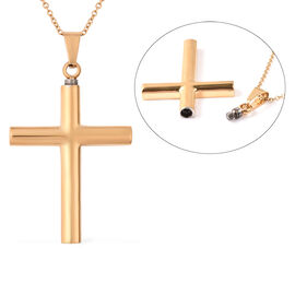 2 Piece Set - Memorial Cross Pendant with Chain (Size 20) and Funnel with Needle in Yellow Gold Tone