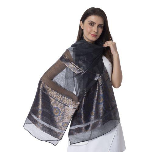 Black Colour Shiny Plum Blossom Pattern with Navy Colour Strip Scarf (Size 190x75 Cm)