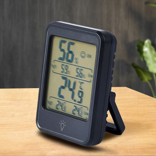 Digital Thermo - Hygrometer Electronic Temperature and Humidity Meter Clock (Size:7.9x5.8x2.2Cm) - B
