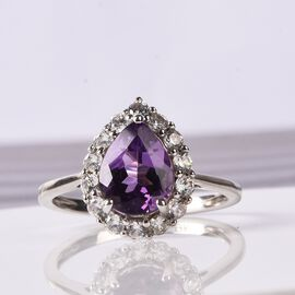 9K White Gold AAAA Bolivian Amethyst and Natural Cambodian Zircon Ring 1.50 Ct.
