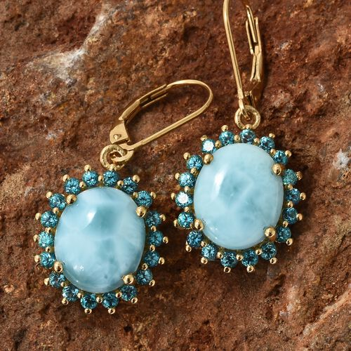 Larimar (Ovl), Signity Pariaba Topaz Lever Back Earrings in 14K Gold Overlay Sterling Silver 11.750 Ct.