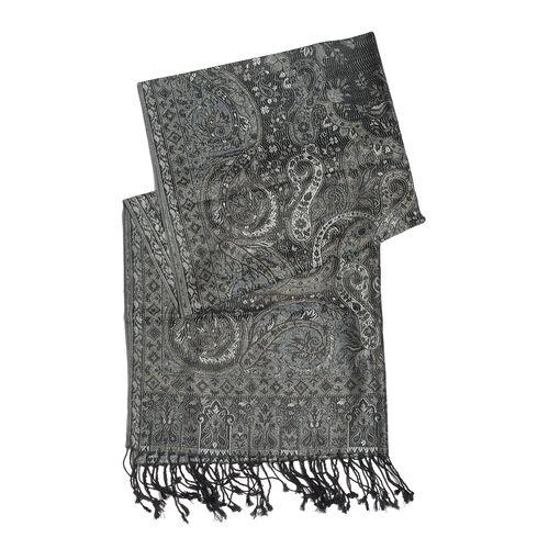 SILK MARK - 100% Super Fine Silk Asphalt Colour Paisley Pattern Black Colour Jacquard Jamawar Scarf with Fringes (Size 180x70 Cm) (Weight 125 - 140 Gms)