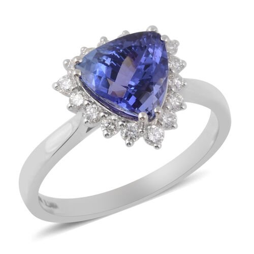 ILIANA 2.79 Ct AAA Tanzanite and Diamond Halo Ring in 18K White Gold 3.56 Grams SI GH