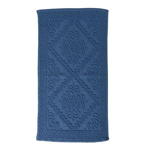 Bath Collection - 100% Cotton Blue Colour Geometrical Design Sculpted Bath Mat (Size 80X50 Cm)