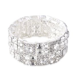 White Austrian Crystal (Rnd), Simulated Diamond Stretchable Flat Bracelet (Size 6.5) in Silver Tone