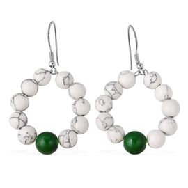 30 Ct White Howlite and Green Glass Drop Hook Earring