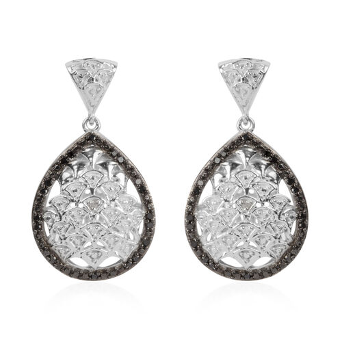 Black Diamond (Rnd), White Diamond Drop Earrings (with Push Back) in Platinum Overlay Sterling Silver 0.168 Ct.