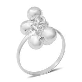 Sterling Silver Dangle Beads Charm Ring (Size Q), Silver wt 5.00 Gms
