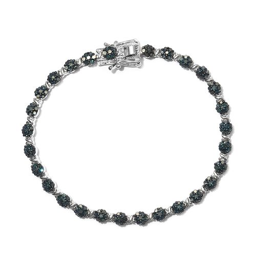 Blue Diamond (Rnd) Bracelet (Size 7.5) in Platinum Overlay Sterling Silver 2.500 Ct, Silver wt 13.13