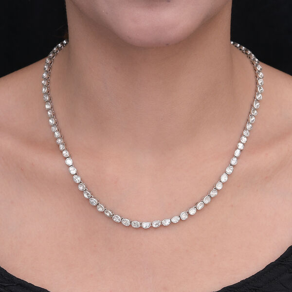 Artisan Crafted Polki Diamond Necklace (Size 18) in Platinum Overlay Sterling Silver 6.00 Ct, Silver Wt 20.86 Grams