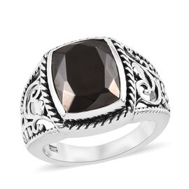 Elite Shungite (Cush) Ring in Sterling Silver 2.50 Ct, Silver wt 5.64 Gms