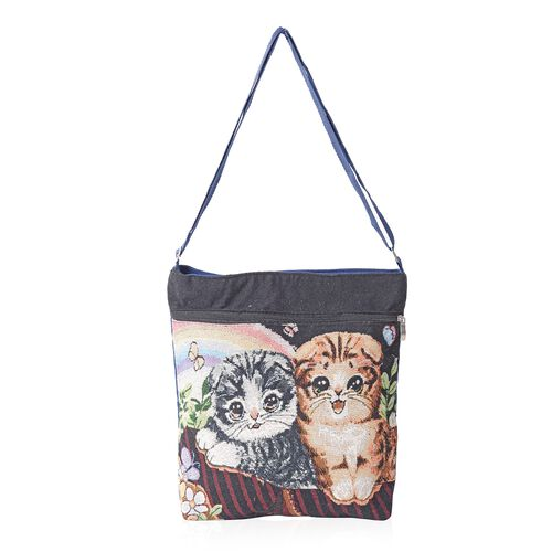 Super Chic Cat Print Handbag with Adjustable Strap and Extra Compartment (32x27x5.5cm)