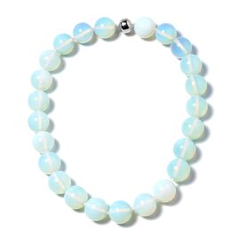 1233 Ct Opalite Beaded Necklace with Magnetic Lock in Rhodium Plated Silver 20 Inch