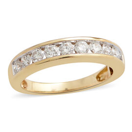 ILIANA 18K Y Gold IGI Certified Diamond (Rnd) (SI/G-H) Half Eternity Band Ring 1.000 Ct.
