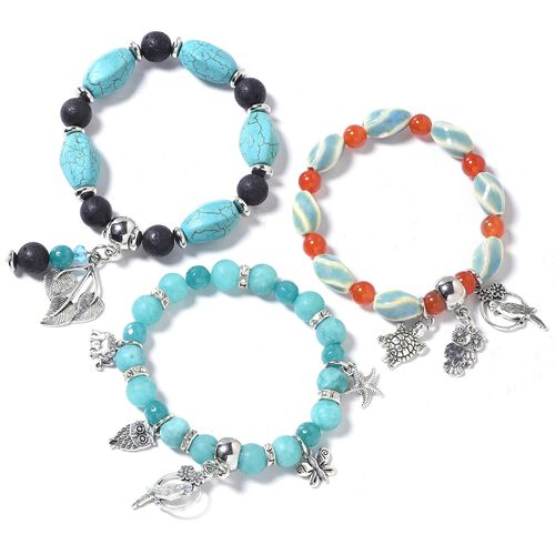 Set of 3 Multi Colour Beads Bracelet (Size 7) with Multi Charm