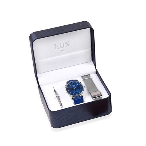 EON 1962 Japanese Movement 3ATM Water Resistant Watch with Interchangeable Blue Genuine Leather Stra