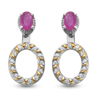 Pink Sapphire and Natural Cambodian Zircon and Dangling Earrings (with Push Back) in Platinum and Ye