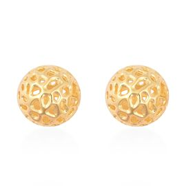RACHEL GALLEY Yellow Gold Overlay Sterling Silver Globe Ball Stud Earrings (with Push Back)