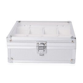 Aluminium 8 Slot Watch Box (Size 21.5x20x8 Cm) - Silver Colour