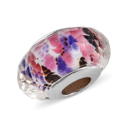 Charmes De Memoire Purple, Pink, Black and White Murano Style Glass Bead Charm in Platinum Overlay Sterling Silver