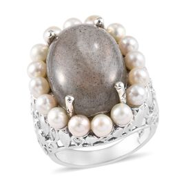 100% Natural Bokonaky Fire Labradorite (Ovl 18x13 mm), Freshwater Pearl Ring in Platinum Overlay Ste