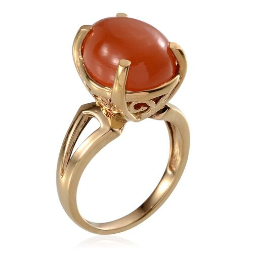 Mitiyagoda Peach Moonstone (Pear) Solitaire Ring in 14K Gold Overlay Sterling Silver 8.000 Ct.