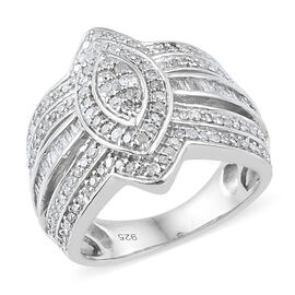 Diamond (Rnd) Ring in Platinum Overlay Sterling Silver 1.000 Ct, Silver wt 6.24 Gms, Number of Diamo
