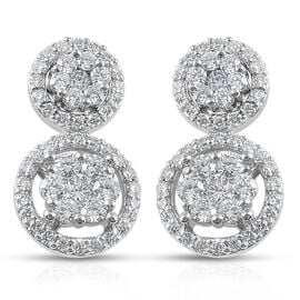 RHAPSODY 950 Platinum Diamond (Rnd) (VS/ E/F) Earrings (with Screw Back) 1.00 Ct.