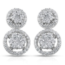 RHAPSODY 950 Platinum IGI Certified Diamond (Rnd) (VS/ E-F) Earrings (with Screw Back) 1.00 Ct.