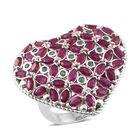 Designer Inspired African Ruby, Kagem Zambian Emerald Heart Ring (Size M) in Platinum Overlay Sterling Silver