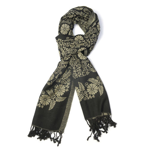 Jacquard Pattern Black and Cream Colour Scarf (Size 70x200 Cm)
