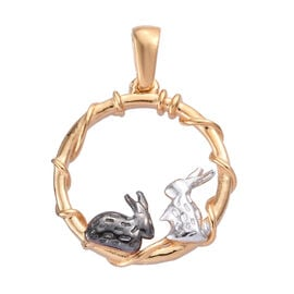 Yellow Gold, Platinum and Black Overlay Sterling Silver Bunny Pendant