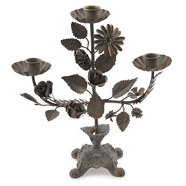 (Option 1) Home Decor - Antique Finish Handcrafted Iron Floral Pattern Multi Candle Stand (Size 27x5