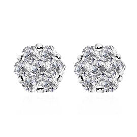 RHAPSODY 950 Platinum IGI Certified Diamond (Rnd) (VS/E-F) Pressure Set  Earrings 1.000 Ct.