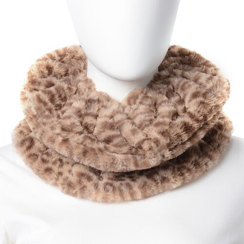 Leopard Skin Pattern Faux-Fur Hand Cuffs (9.5x12 Cm) and Faux Fur Infinity Scarf (Size 32x24 Cm) Beige Colour